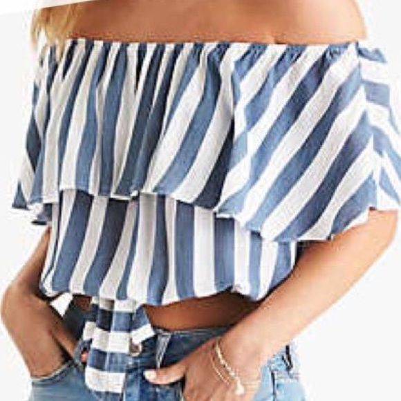 568b8dd1aea0d5 American Eagle Outfitters Tops - AE blue & white striped off-the-shoulder  top